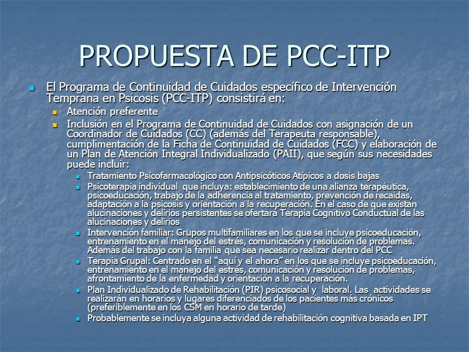 PROPUESTA DE PCC-ITPEl Programa de Continuidad de Cuidados específico de Intervención Temprana en Psicosis (PCC-ITP) consistirá en:
