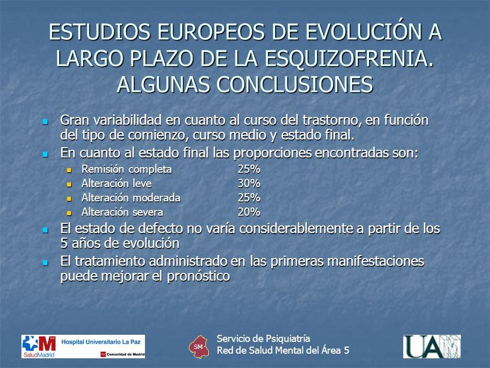 ESTUDIOS EUROPEOS DE EVOLUCIÓN A LARGO PLAZO DE LA ESQUIZOFRENIA