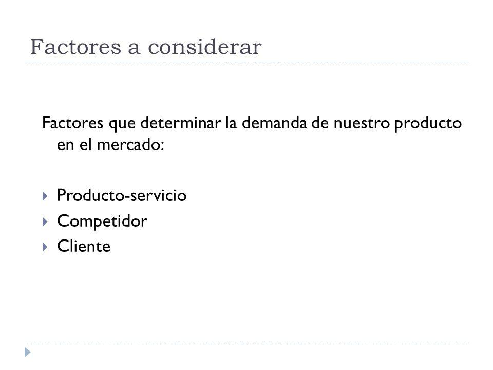 Factores a considerar Factores que determinar la demanda de nuestro producto en el mercado: Producto-servicio.