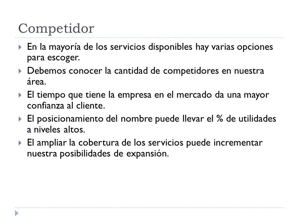 Competidor En la mayoría de los servicios disponibles hay varias opciones para escoger.