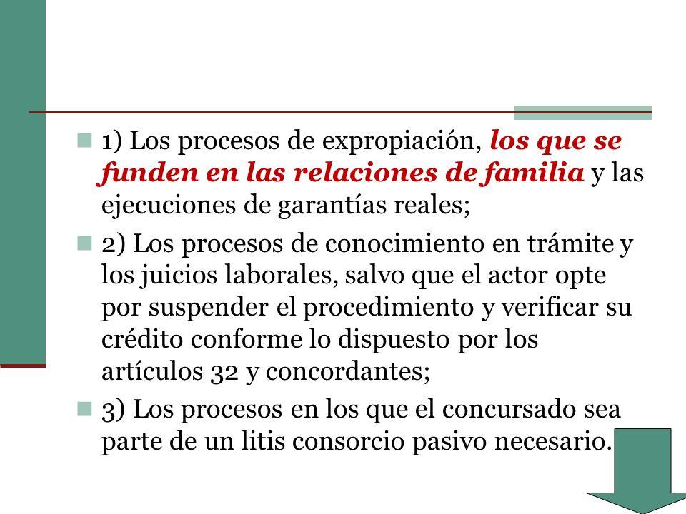 1) Los procesos de expropiación, los que se funden en las relaciones de familia y las ejecuciones de garantías reales;