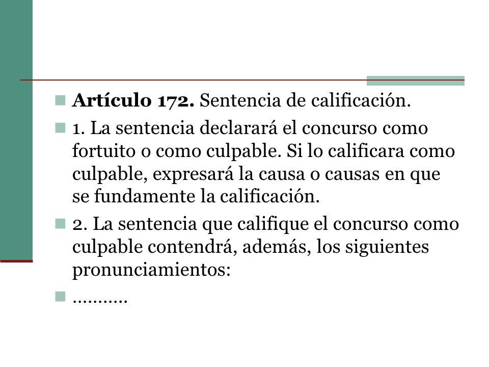 Artículo 172. Sentencia de calificación.