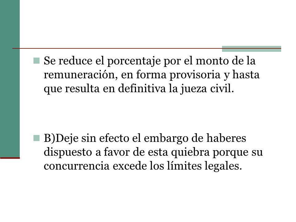 Se reduce el porcentaje por el monto de la remuneración, en forma provisoria y hasta que resulta en definitiva la jueza civil.
