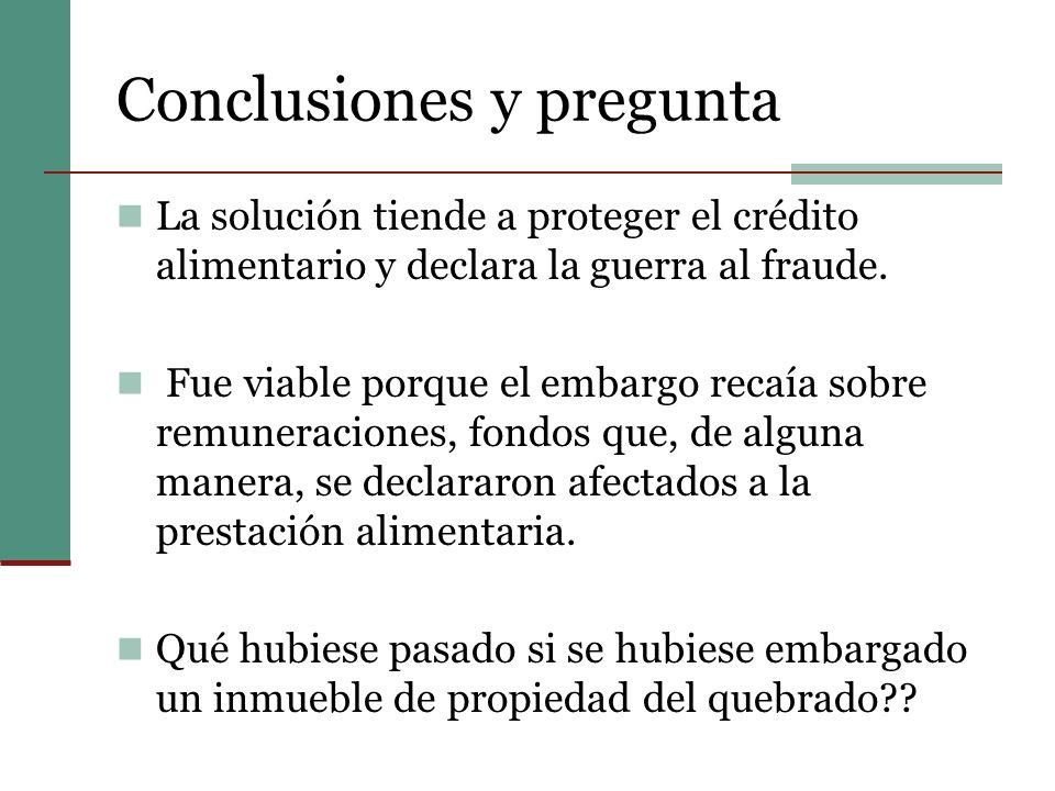 Conclusiones y pregunta