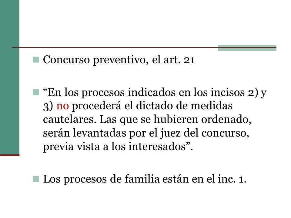Concurso preventivo, el art. 21