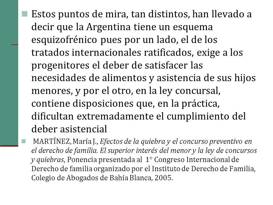 Estos puntos de mira, tan distintos, han llevado a decir que la Argentina tiene un esquema esquizofrénico pues por un lado, el de los tratados internacionales ratificados, exige a los progenitores el deber de satisfacer las necesidades de alimentos y asistencia de sus hijos menores, y por el otro, en la ley concursal, contiene disposiciones que, en la práctica, dificultan extremadamente el cumplimiento del deber asistencial