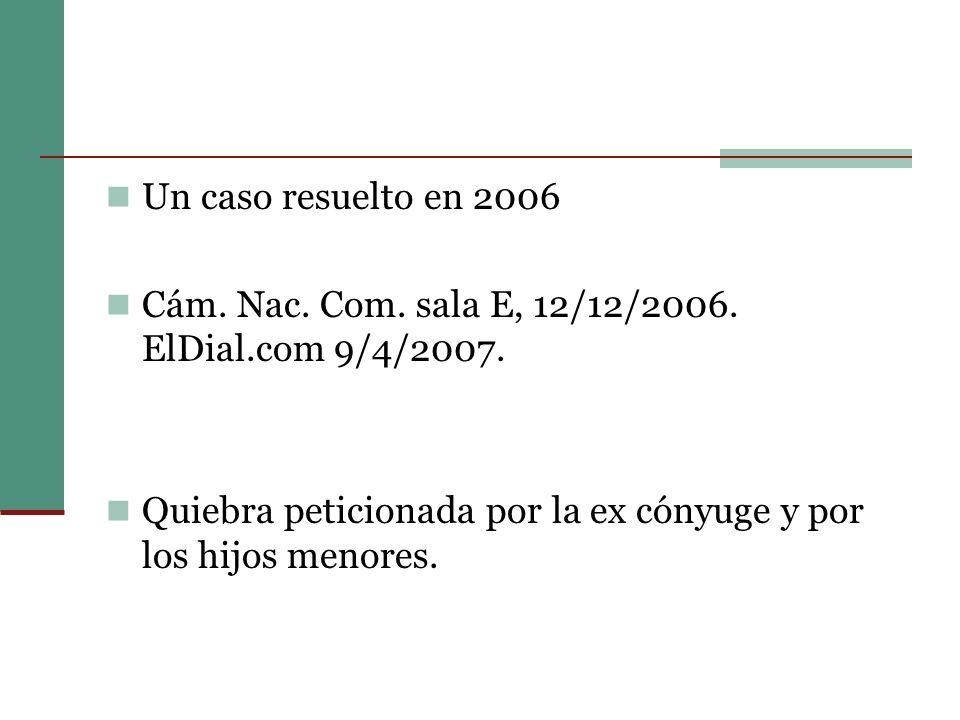 Un caso resuelto en 2006 Cám. Nac. Com. sala E, 12/12/2006.