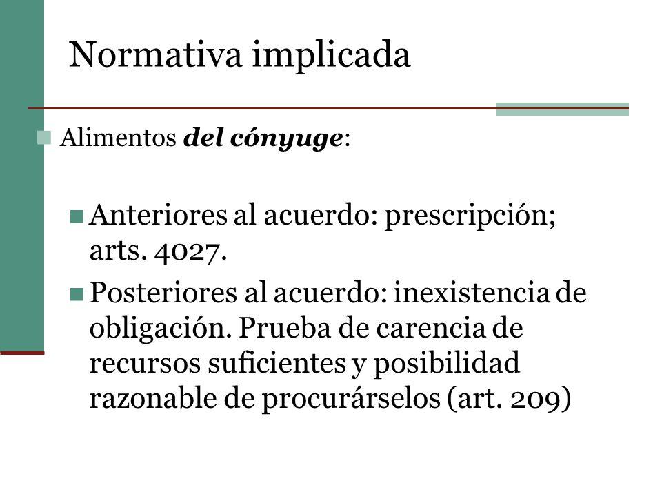 Normativa implicada Anteriores al acuerdo: prescripción; arts. 4027.