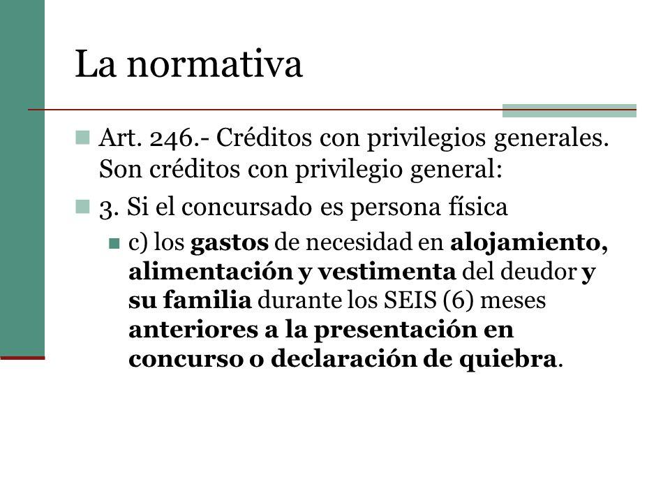 La normativa Art. 246.- Créditos con privilegios generales. Son créditos con privilegio general: 3. Si el concursado es persona física.