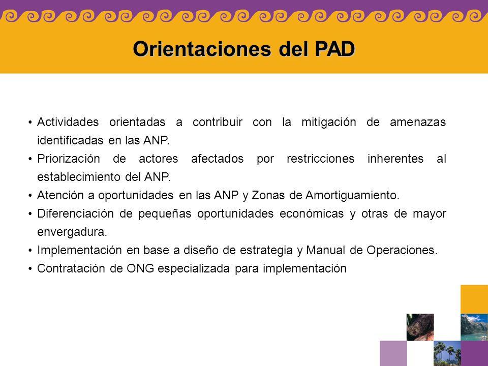 Orientaciones del PAD Actividades orientadas a contribuir con la mitigación de amenazas identificadas en las ANP.