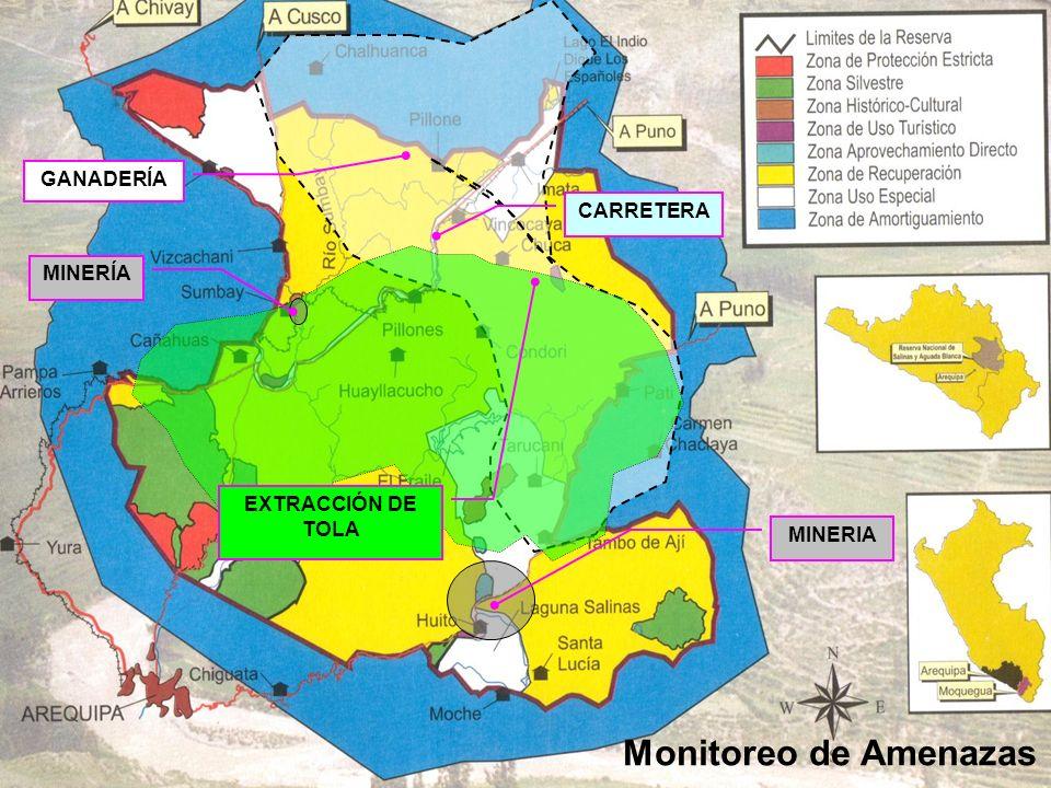 Monitoreo de Amenazas GANADERÍA CARRETERA MINERÍA EXTRACCIÓN DE TOLA