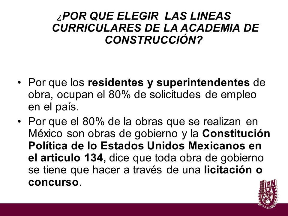 ¿POR QUE ELEGIR LAS LINEAS CURRICULARES DE LA ACADEMIA DE CONSTRUCCIÓN