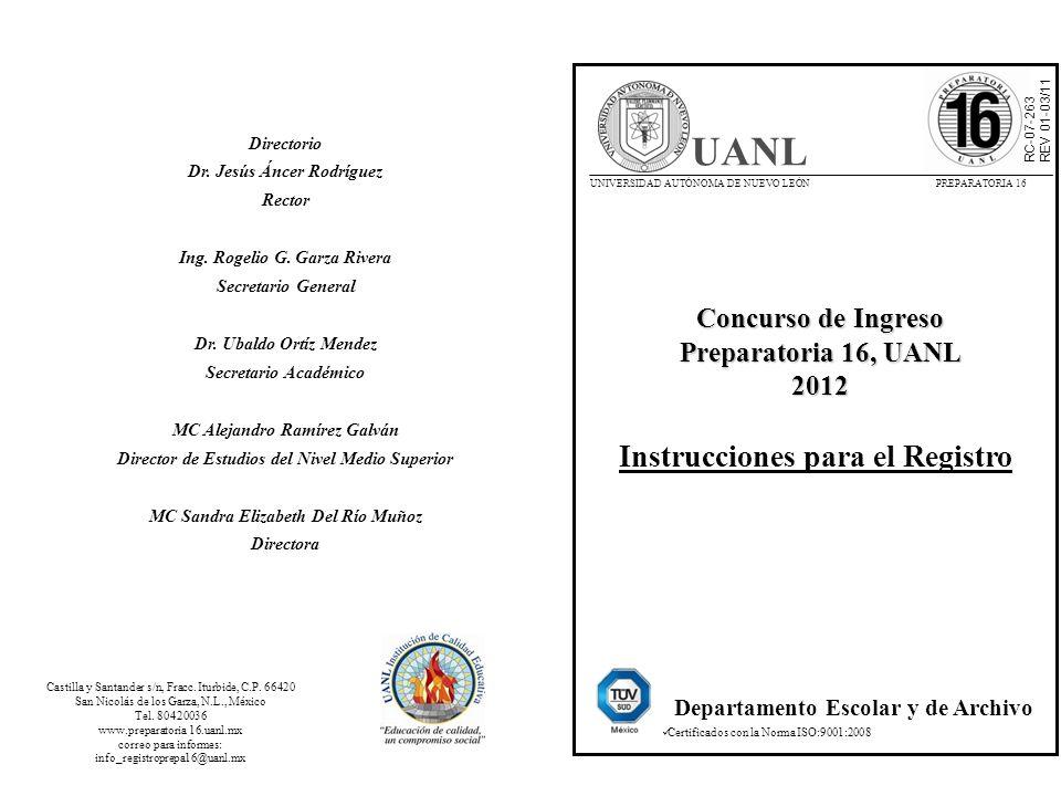 UANL Instrucciones para el Registro Concurso de Ingreso