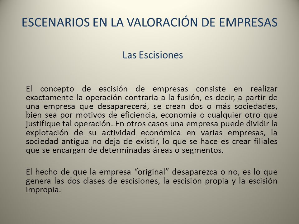 ESCENARIOS EN LA VALORACIÓN DE EMPRESAS