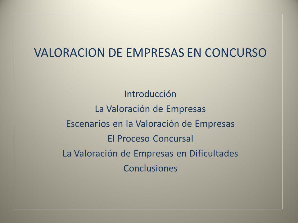 VALORACION DE EMPRESAS EN CONCURSO