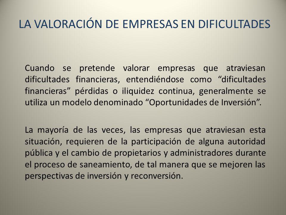 LA VALORACIÓN DE EMPRESAS EN DIFICULTADES