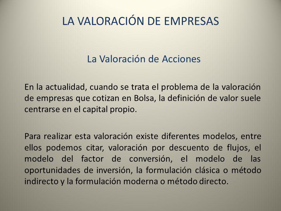 LA VALORACIÓN DE EMPRESAS
