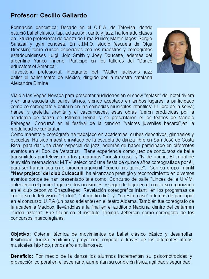 Profesor: Cecilio Gallardo