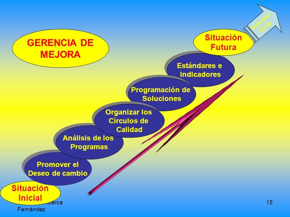 GERENCIA DE MEJORA Situación Futura Situación Inicial Estándares e