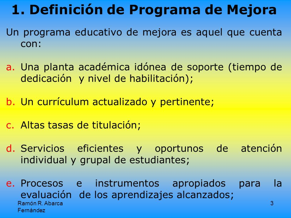 1. Definición de Programa de Mejora