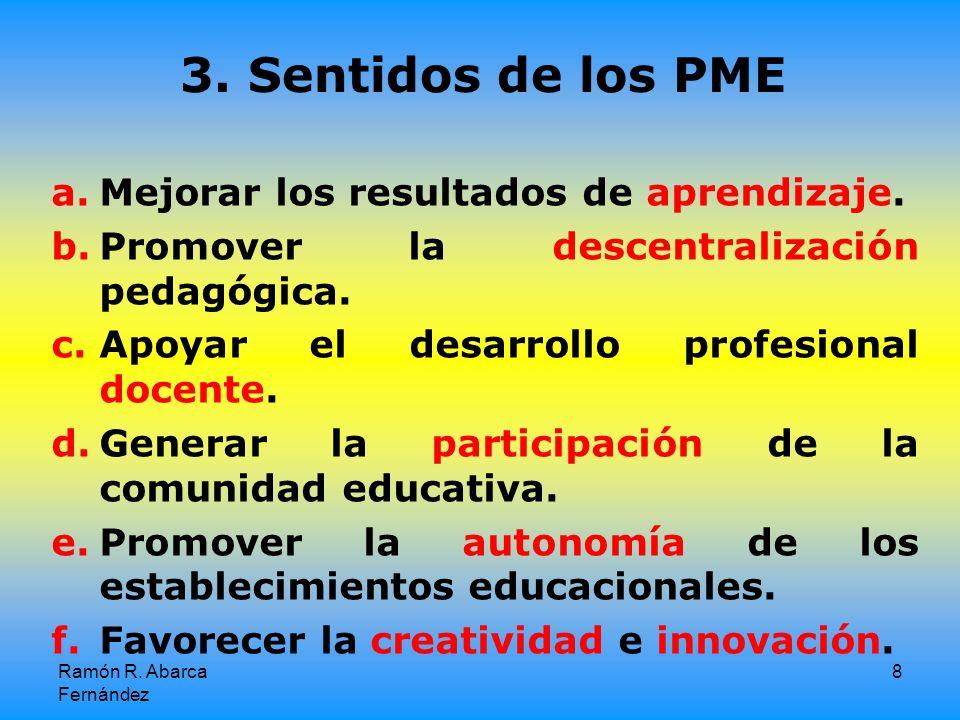3. Sentidos de los PME Mejorar los resultados de aprendizaje.