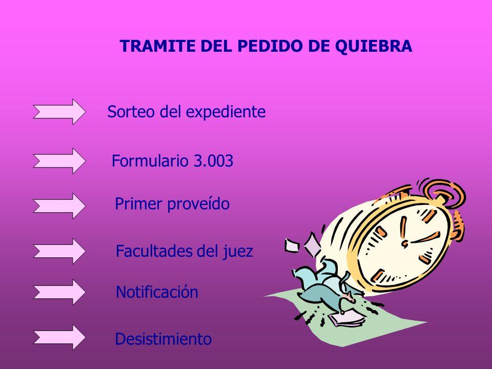 TRAMITE DEL PEDIDO DE QUIEBRA