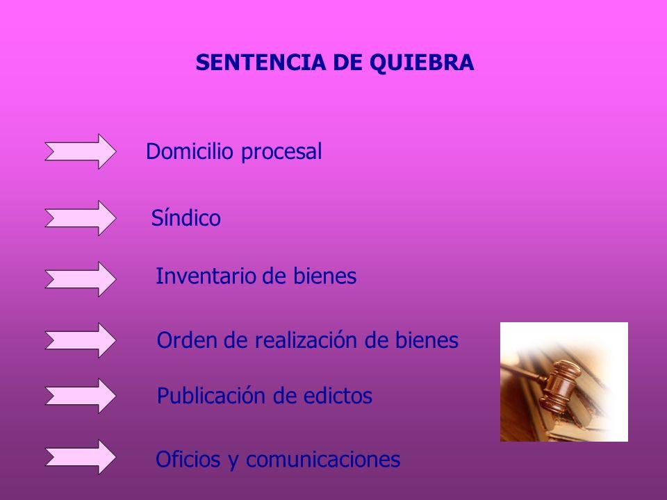 SENTENCIA DE QUIEBRA Domicilio procesal. Síndico. Inventario de bienes. Orden de realización de bienes.
