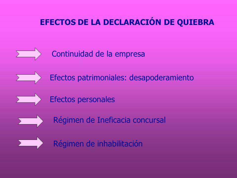 EFECTOS DE LA DECLARACIÓN DE QUIEBRA