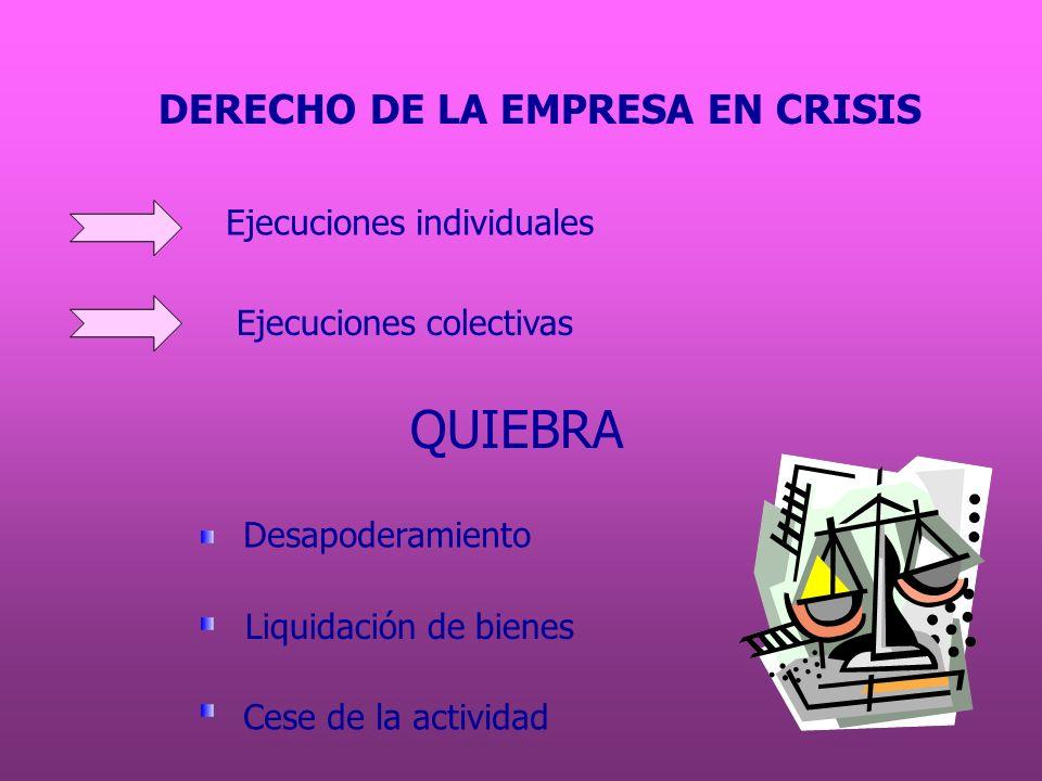QUIEBRA DERECHO DE LA EMPRESA EN CRISIS Ejecuciones individuales