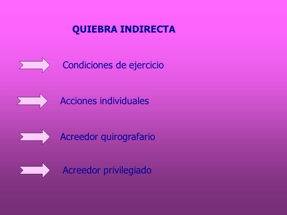 QUIEBRA INDIRECTA Condiciones de ejercicio. Acciones individuales.