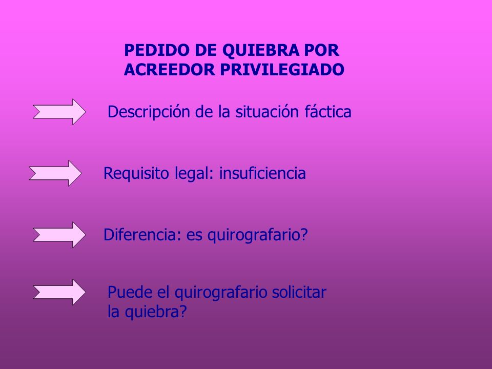 PEDIDO DE QUIEBRA PORACREEDOR PRIVILEGIADO. Descripción de la situación fáctica. Requisito legal: insuficiencia.