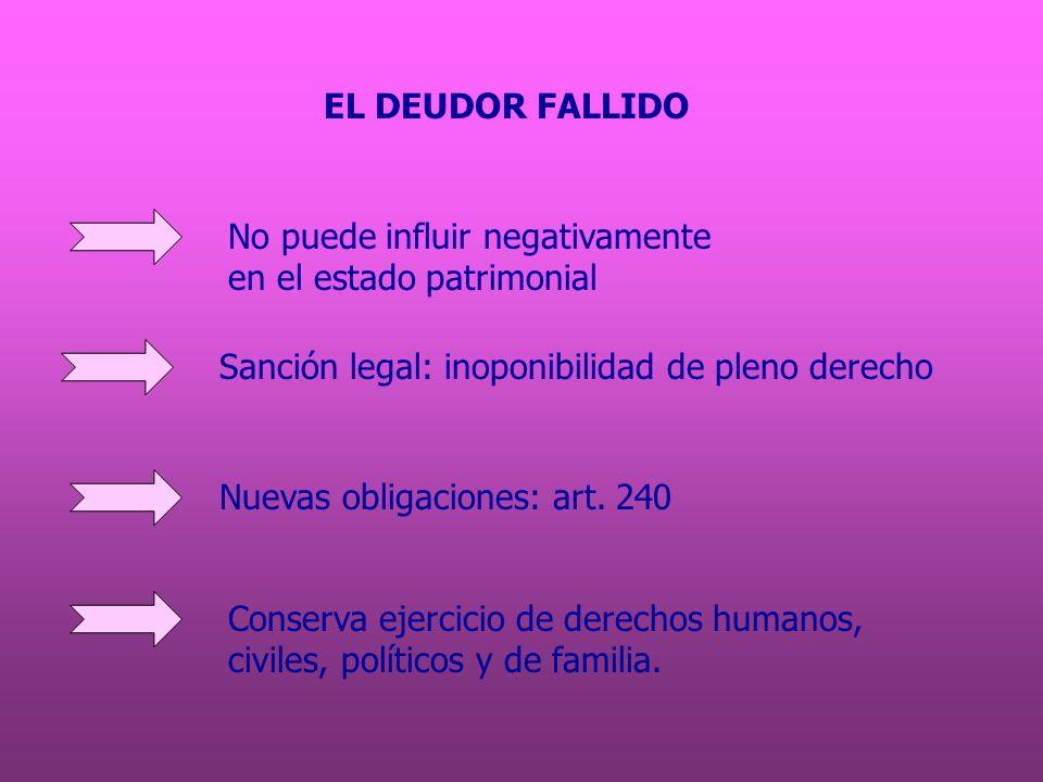 EL DEUDOR FALLIDO No puede influir negativamente. en el estado patrimonial. Sanción legal: inoponibilidad de pleno derecho.