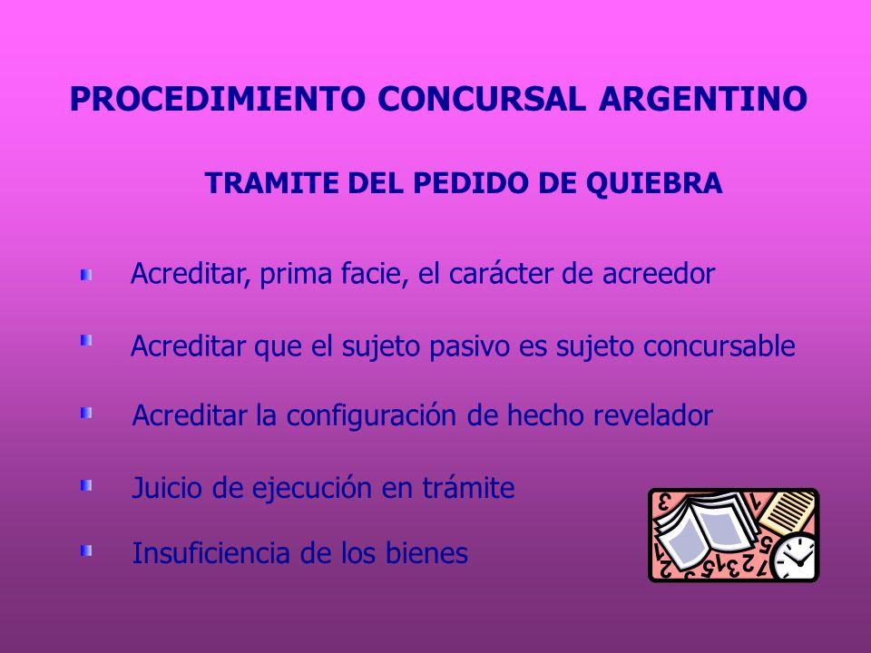PROCEDIMIENTO CONCURSAL ARGENTINO