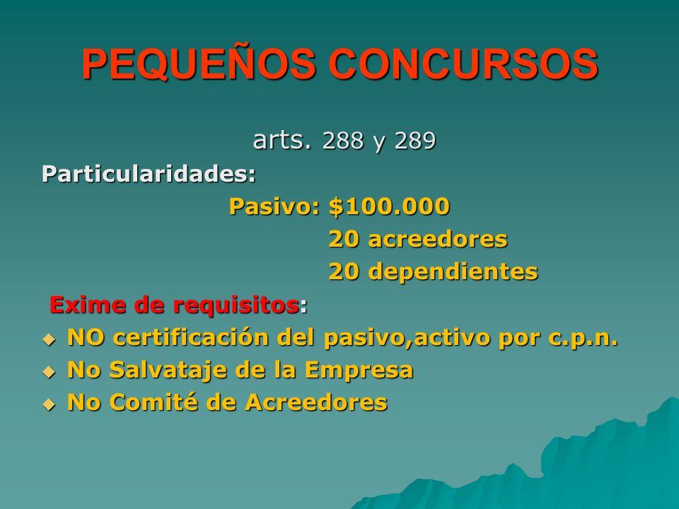 PEQUEÑOS CONCURSOS arts. 288 y 289 Particularidades: Pasivo: $100.000