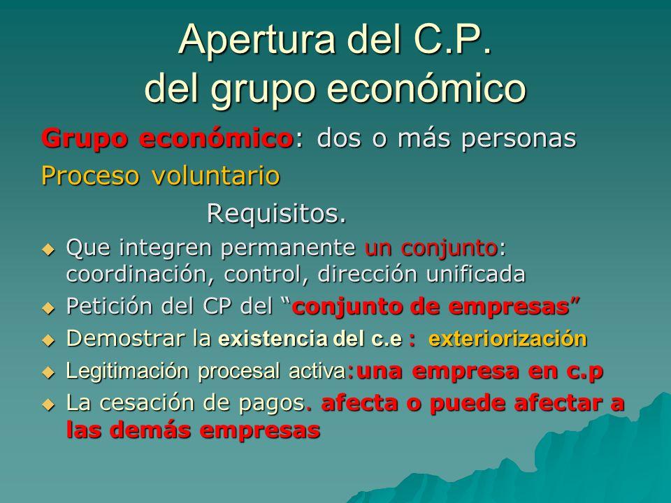 Apertura del C.P. del grupo económico