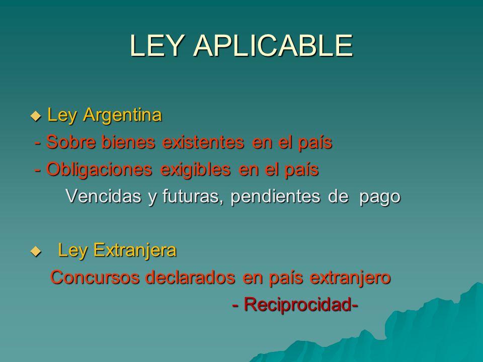 LEY APLICABLE Ley Argentina - Sobre bienes existentes en el país