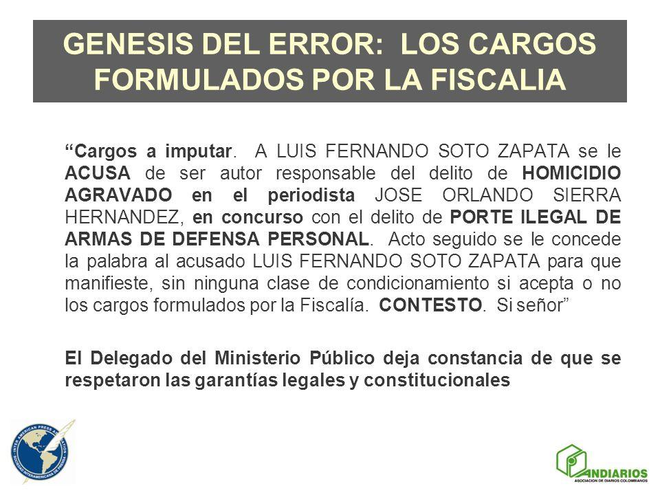 GENESIS DEL ERROR: LOS CARGOS FORMULADOS POR LA FISCALIA