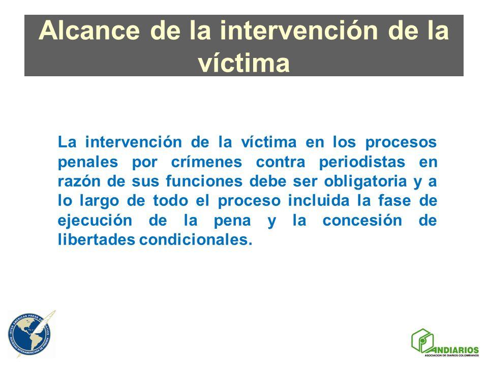 Alcance de la intervención de la víctima