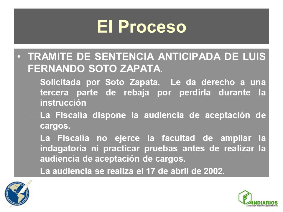 El Proceso TRAMITE DE SENTENCIA ANTICIPADA DE LUIS FERNANDO SOTO ZAPATA.