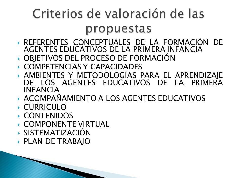 Criterios de valoración de las propuestas
