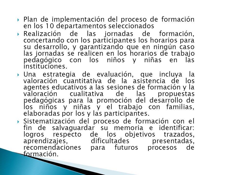 Plan de implementación del proceso de formación en los 10 departamentos seleccionados