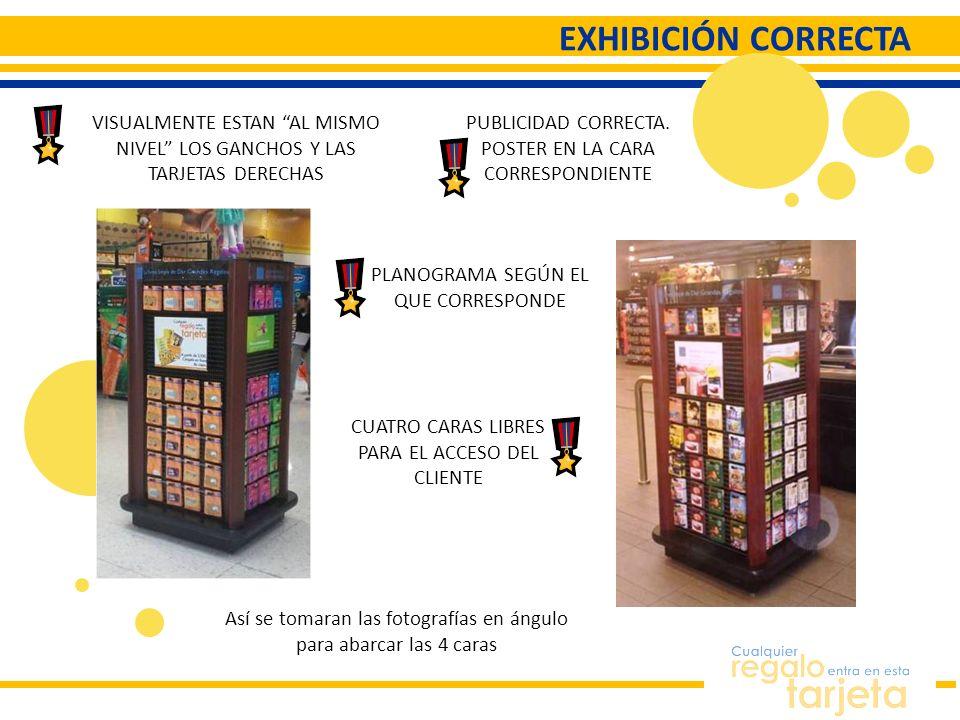 EXHIBICIÓN CORRECTA VISUALMENTE ESTAN AL MISMO NIVEL LOS GANCHOS Y LAS TARJETAS DERECHAS. PUBLICIDAD CORRECTA.
