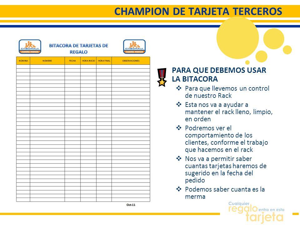CHAMPION DE TARJETA TERCEROS