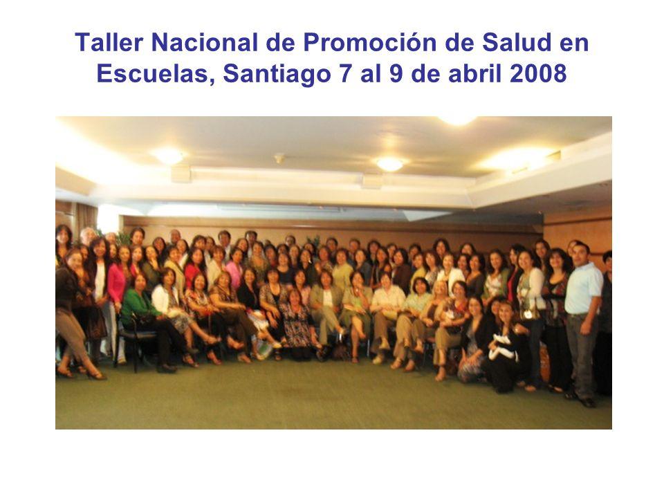 Taller Nacional de Promoción de Salud en Escuelas, Santiago 7 al 9 de abril 2008