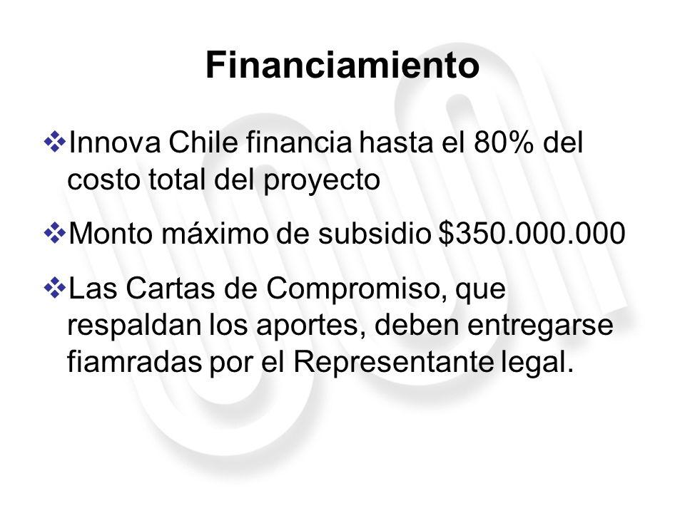 Financiamiento Innova Chile financia hasta el 80% del costo total del proyecto. Monto máximo de subsidio $350.000.000.