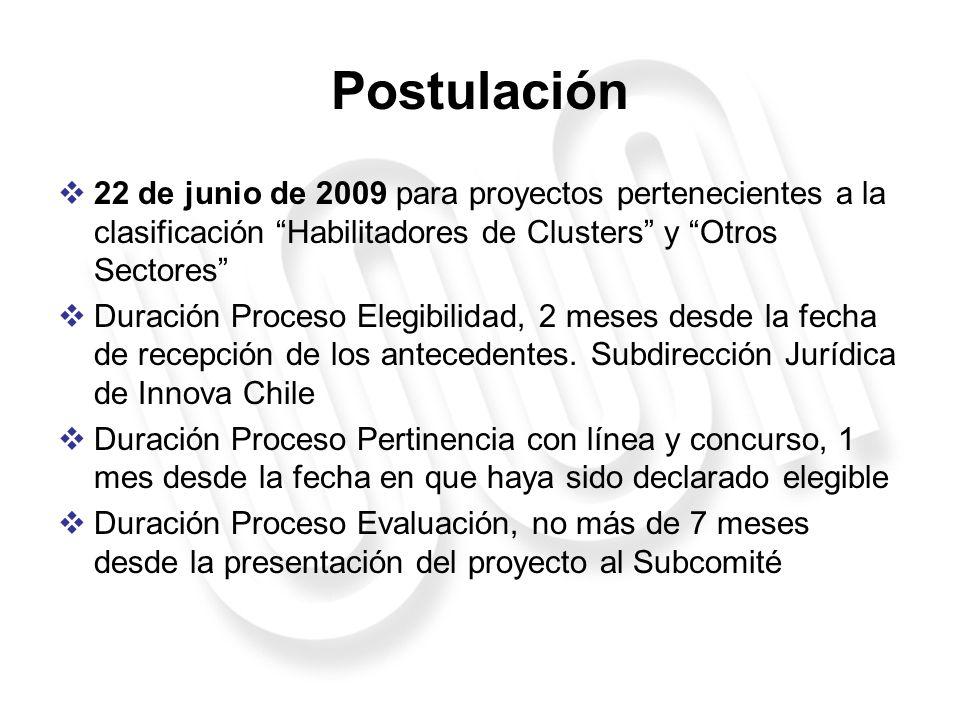 Postulación 22 de junio de 2009 para proyectos pertenecientes a la clasificación Habilitadores de Clusters y Otros Sectores