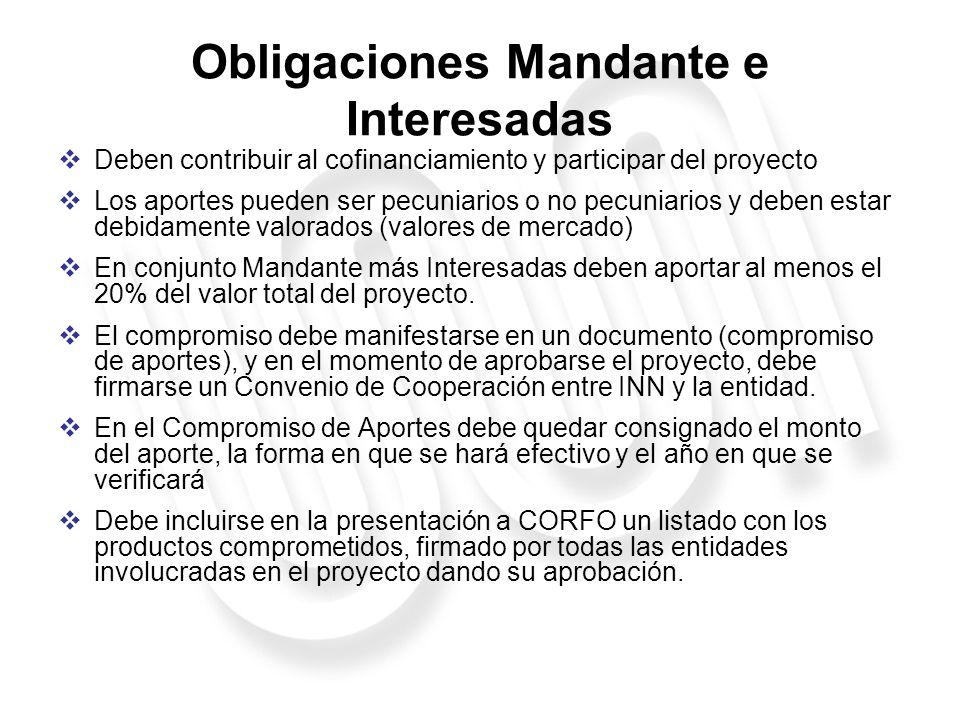 Obligaciones Mandante e Interesadas
