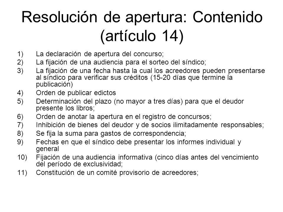 Resolución de apertura: Contenido (artículo 14)