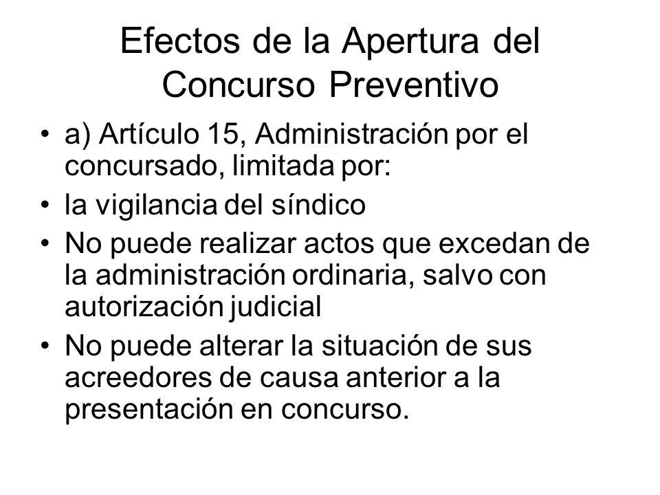 Efectos de la Apertura del Concurso Preventivo