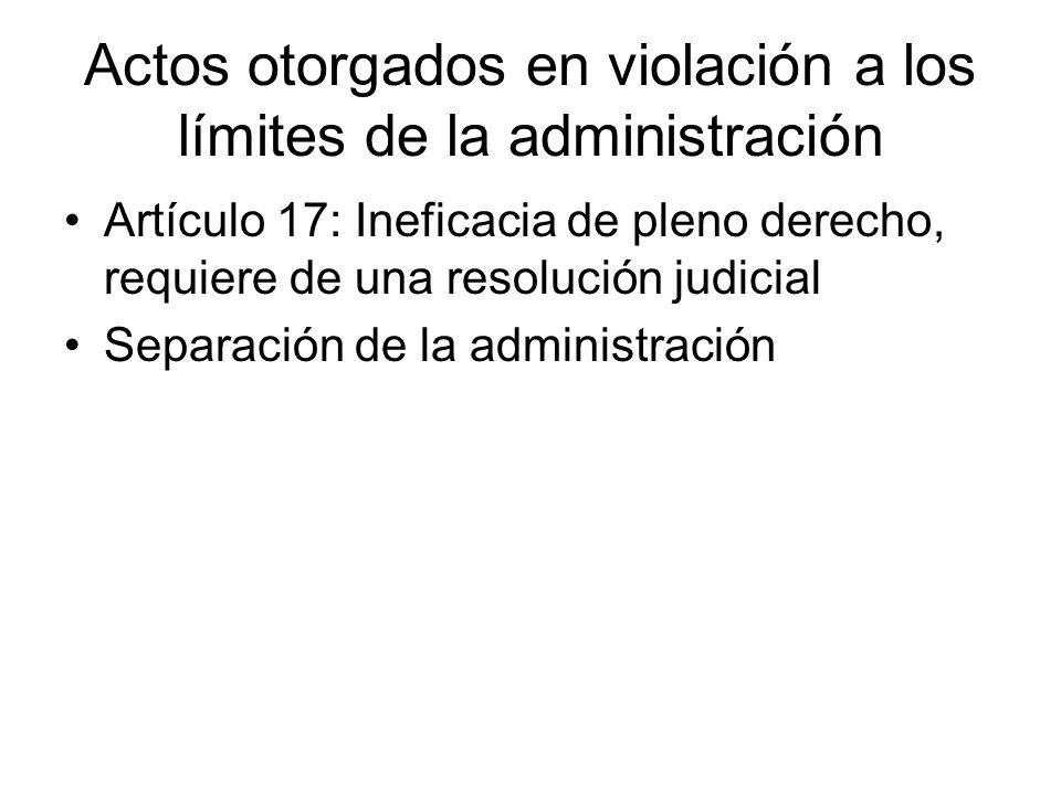 Actos otorgados en violación a los límites de la administración
